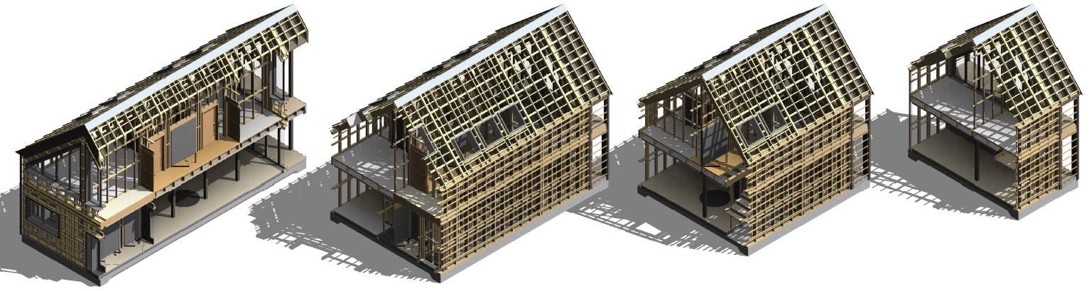 timber framed houses modeled in Revit using AGACAD Wood Framing tools