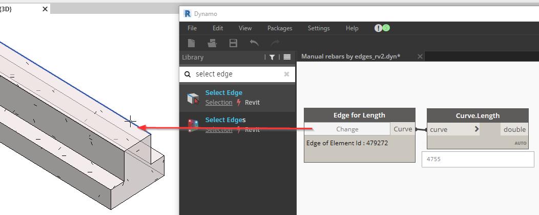 Enhanced Dynamo Script for Reinforcement by Selected Edges