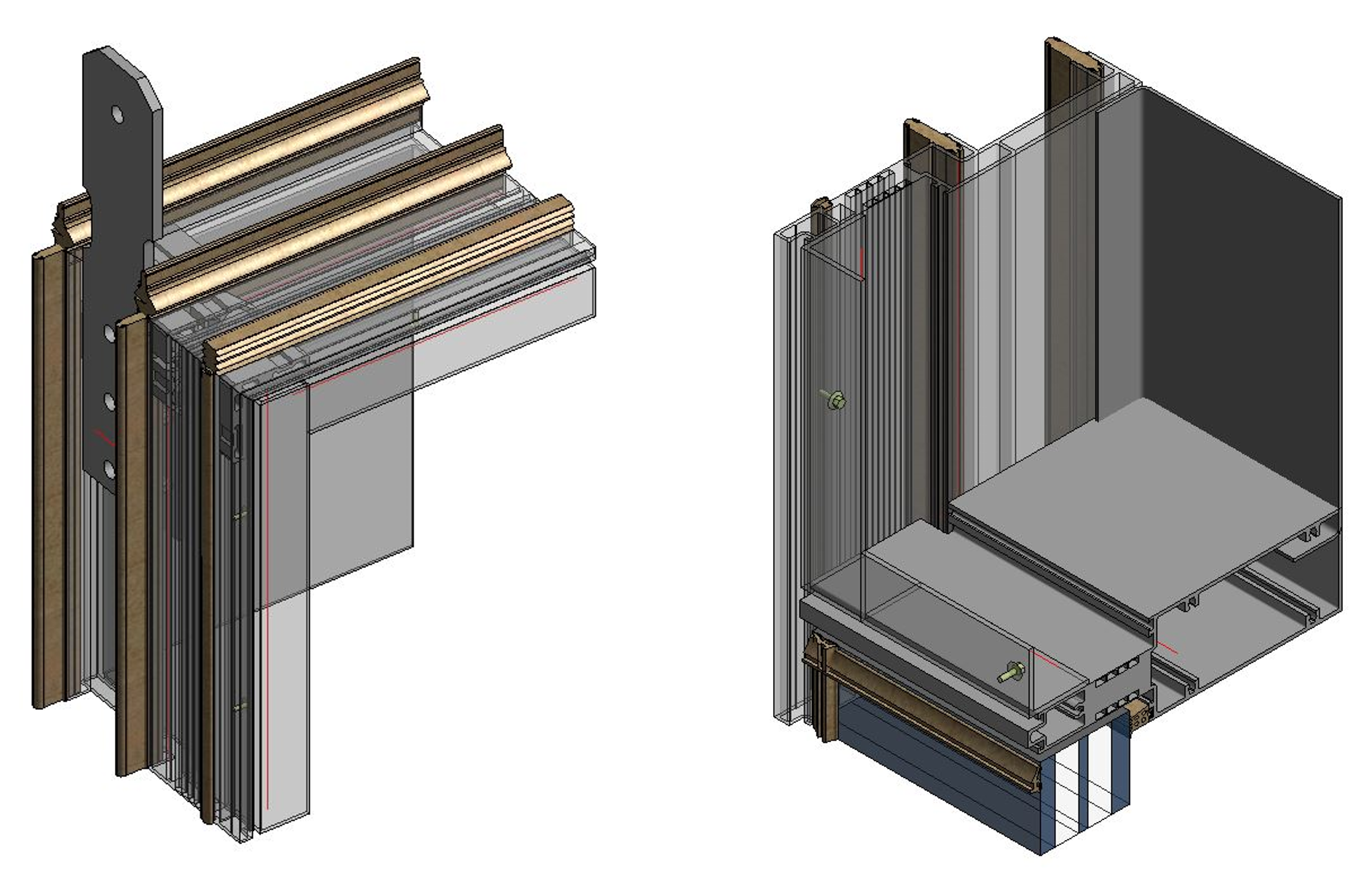 details of window glass holders of facades modeled in Autodesk Revit using AGACAD Curtain Walls and Panels BIM design software