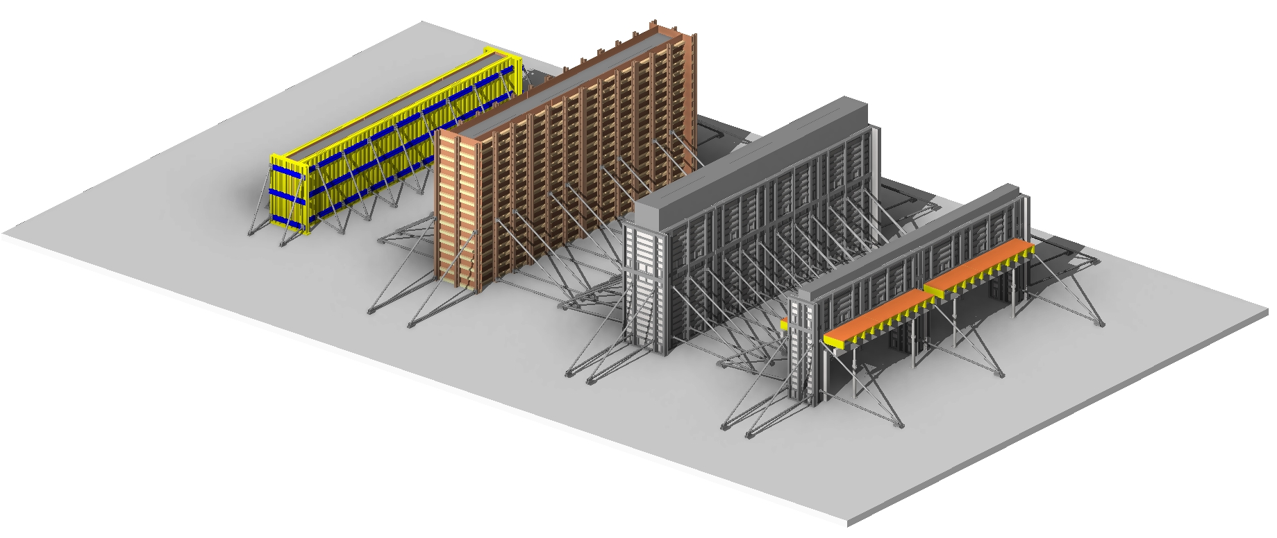 Timber/steel formwork for concrete panels in Autodesk Revit using AGACAD Wood & Metal Framing Wall BIM software