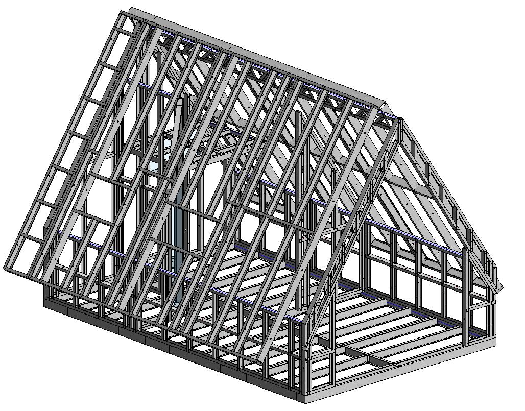 Light-gauge steel attic framed in Autodesk Revit using AGACAD's Metal Framing BIM software