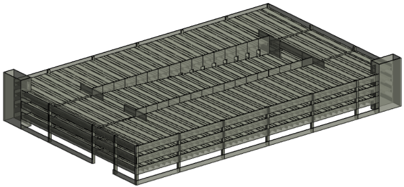 BIM model of precast concrete parking garage using AGACAD Precast Design design software for Revit