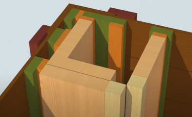 timber framed wall joinery modeled in Autodesk Revit using AGACAD Wood Framing BIM software