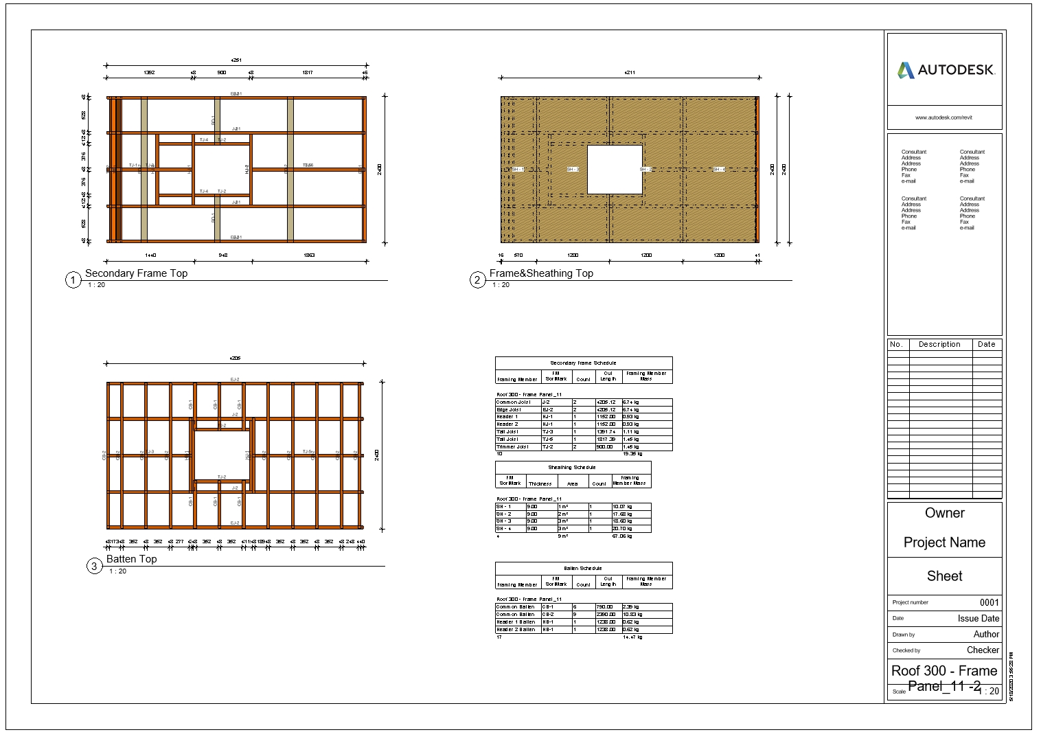 create shop drawings for roof layers like sheathing, battens, primary/secondary frames in Autodesk Revit using AGACAD Roof Framing BIM tools