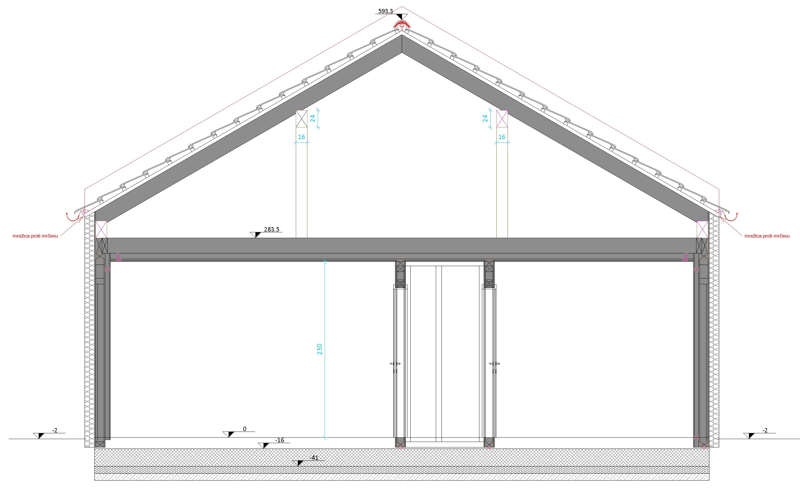 section of prefabricated timber house modeled in Autodesk Revit by Rihter using AGACAD Wood Framing BIM design software