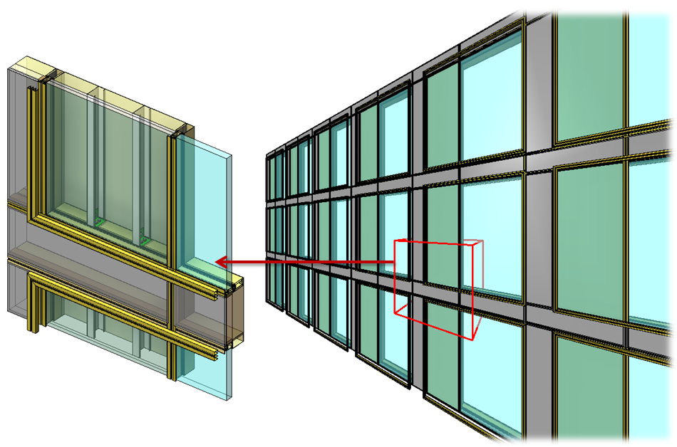 Architectural curtain wall panels modeled in Autodesk Revit using AGACAD Curtain Walls & Panels light-gauge steel framing software