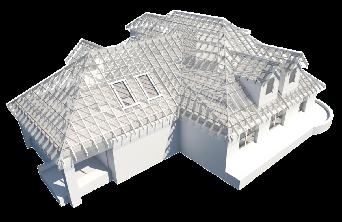Roof framed with light-gauge steel in Autodesk Revit using AGACAD Metal Framing BIM tools