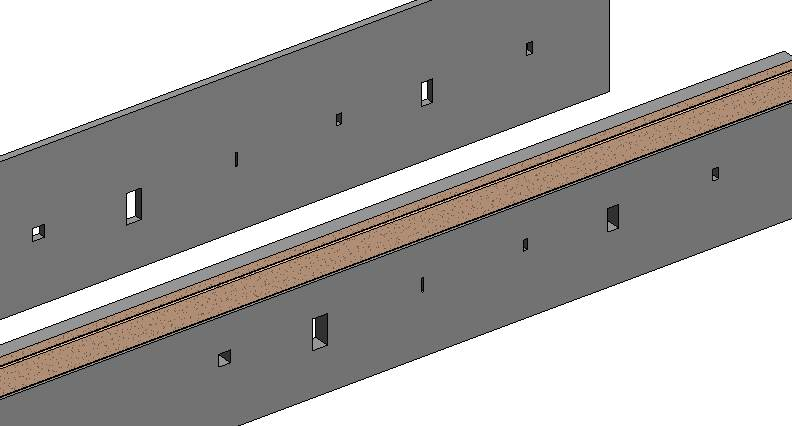 holes through a wall in Autodesk Revit, inserted using AGACAD's Cut Opening BIM tool