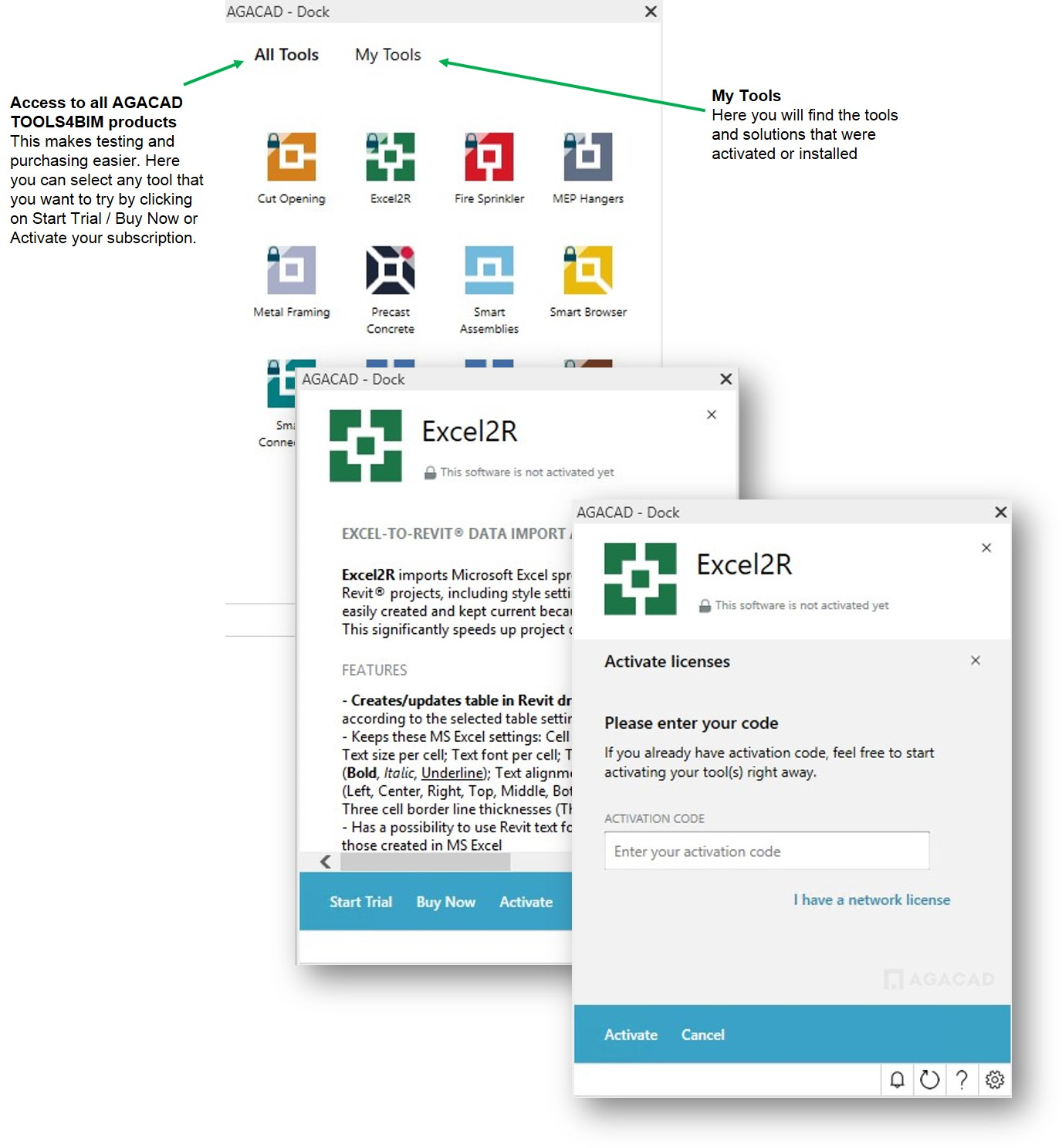 AGACAD TOOLS4BIM Dock - separate interactive window in Revit getting to ALL Trials, Tools, Updates