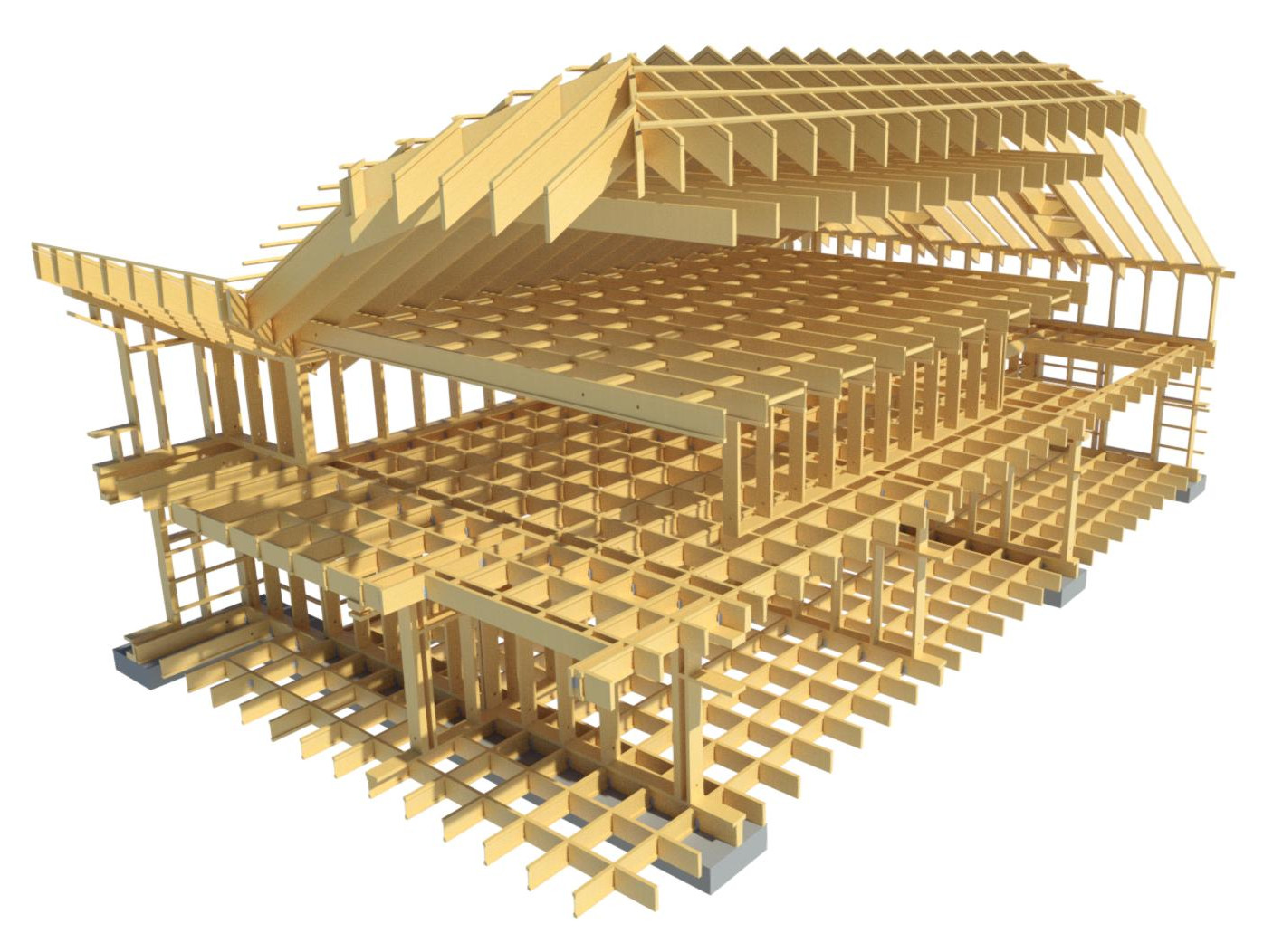 timber framed floor and roof modeled in Revit using AGACAD Wood Framing tools