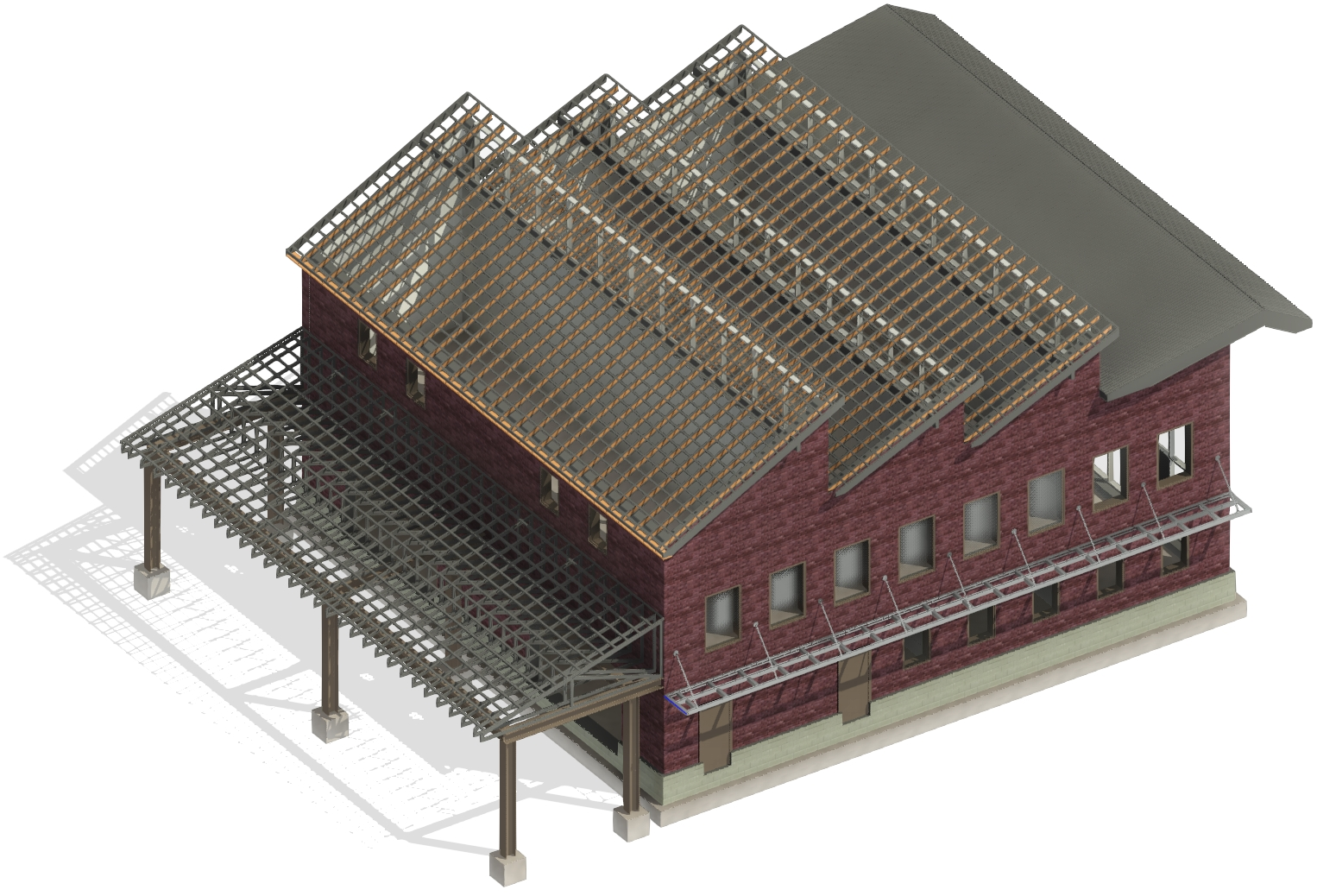 Mono-pitch roofs can use trusses, rafters, and prefabricated panels in Autodesk Revit using AGACAD Roof Framing BIM tools