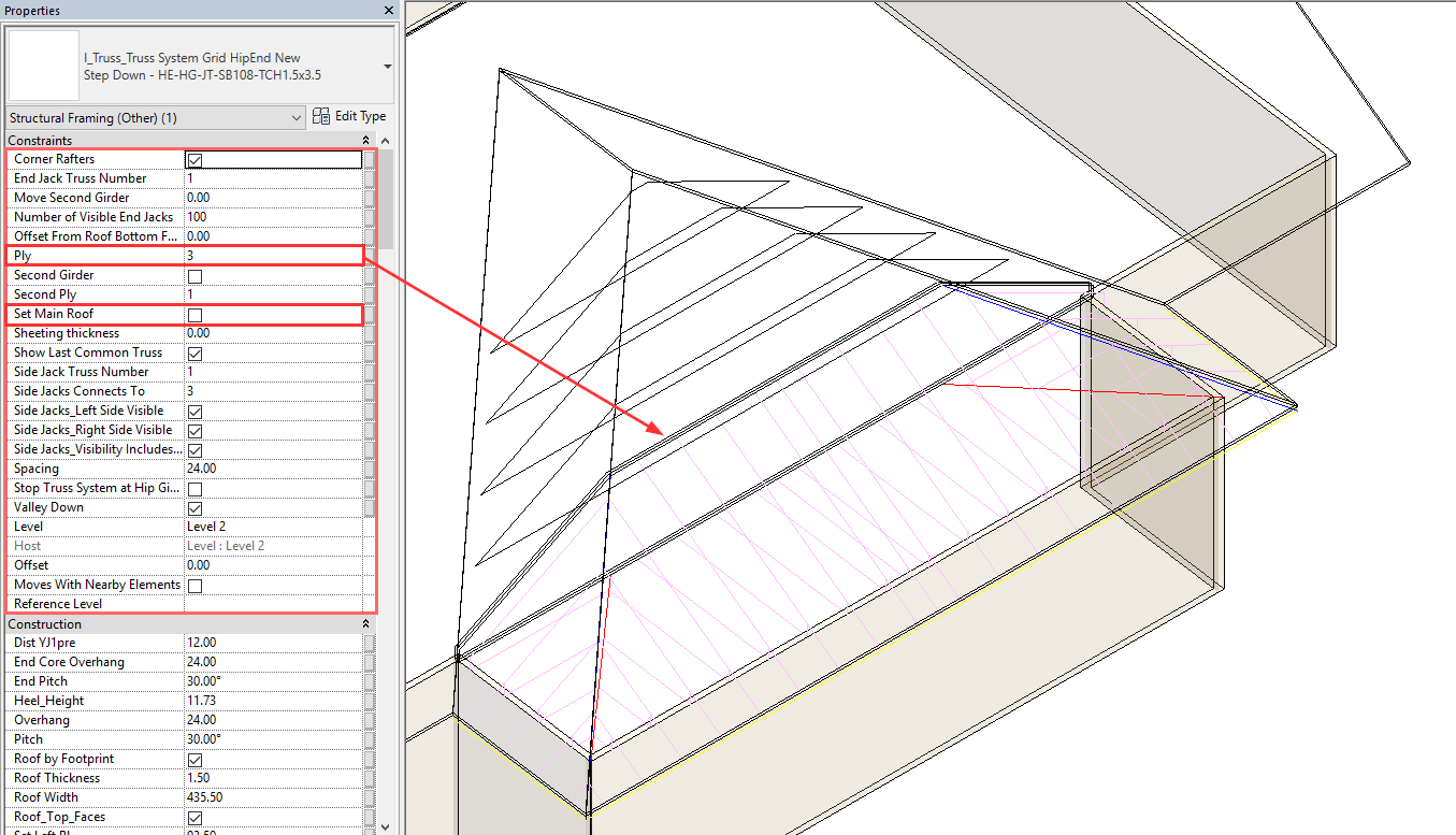 New Truss+: Auto-generate complex roof truss systems in