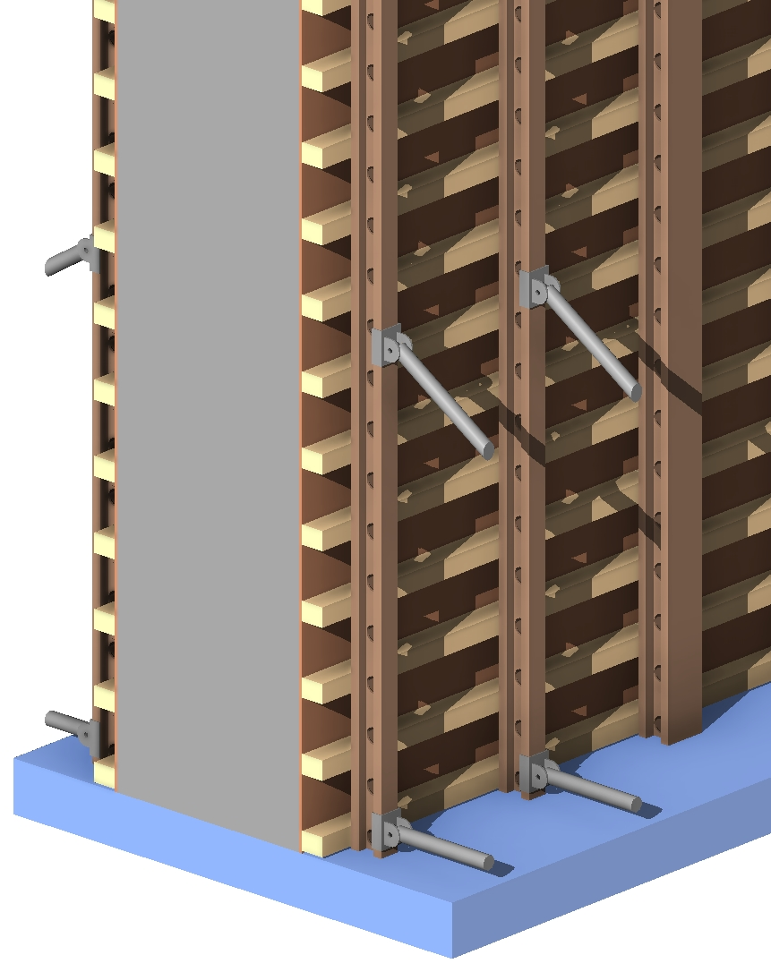 Timber formwork for concrete panels in Autodesk Revit using AGACAD Wood Framing Wall BIM software