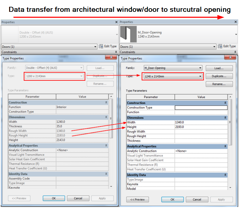 Data Transfer from window/door to window/door opening