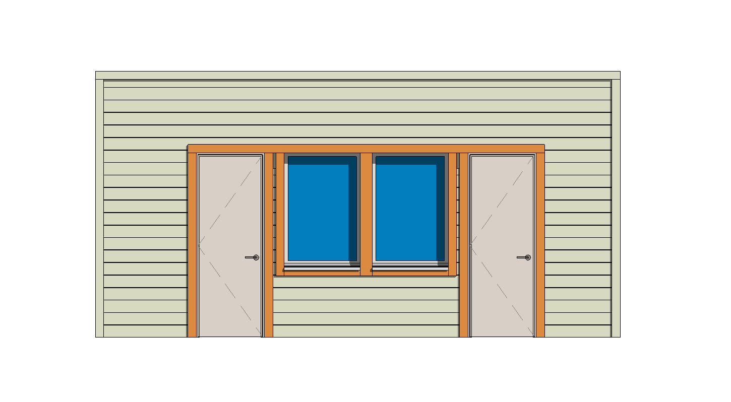 Wood Frame with Horizontal Siding & Joined Windows-Doors