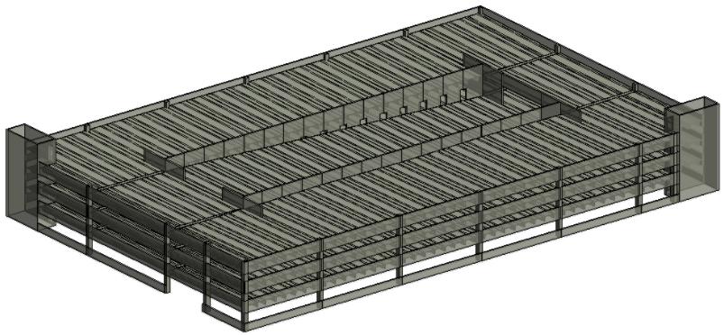 BIM model of precast concrete parking garage using AGACAD Precast Design design software for Revit