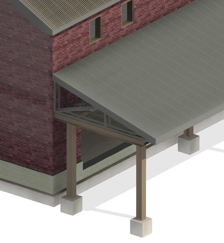 mono-pitch metal truss used as primary structural support element for fully-framed roof in Autodesk Revit using AGACAD Roof Framing BIM tool
