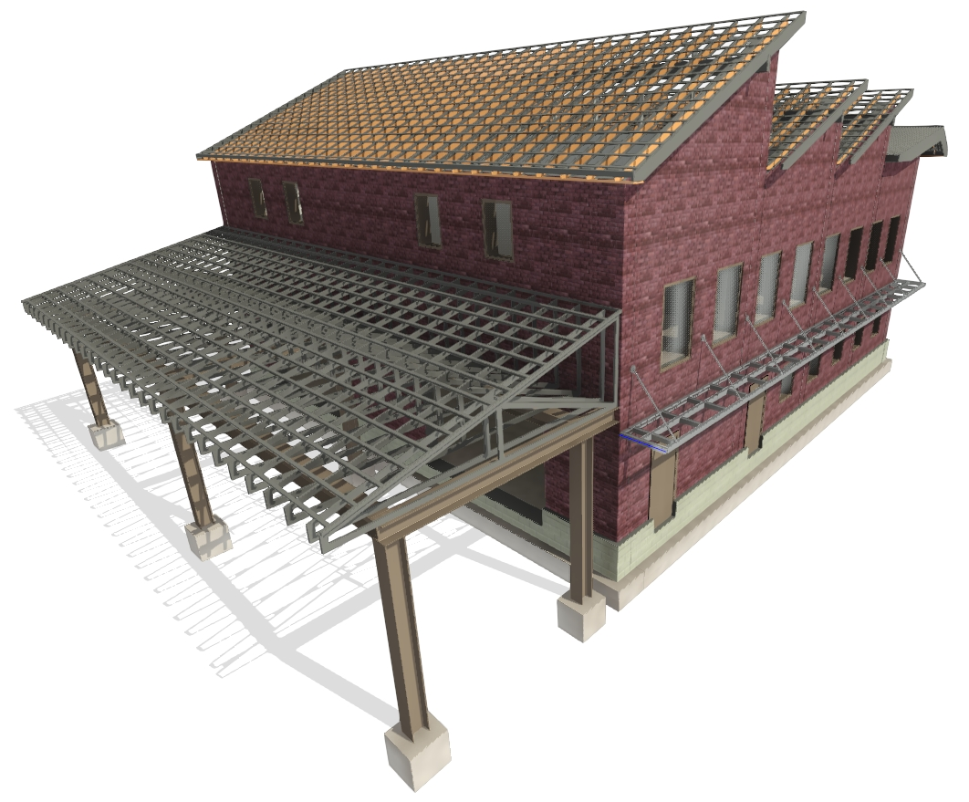 truss spacing may be specified using AGACAD Roof Framing BIM tools for Autodesk Revit