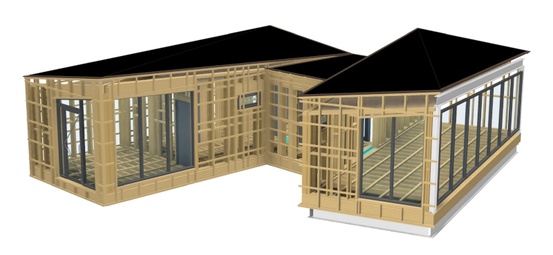 DfMA (Design for Manufacture & Assembly) Spa designed by Pat Munro Ltd using AGACAD Wood Framing addins for Autodesk Revit