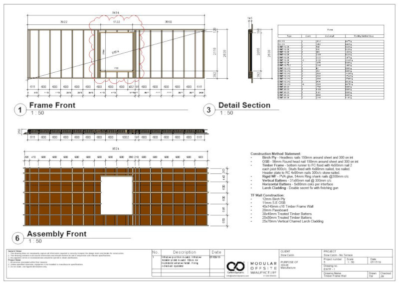 Shop drawings for DfMA (Design for Manufacture & Assembly) modular Offgrid Cabin designed by Pat Munro Ltd using AGACAD Wood Framing addins for Autodesk Revit