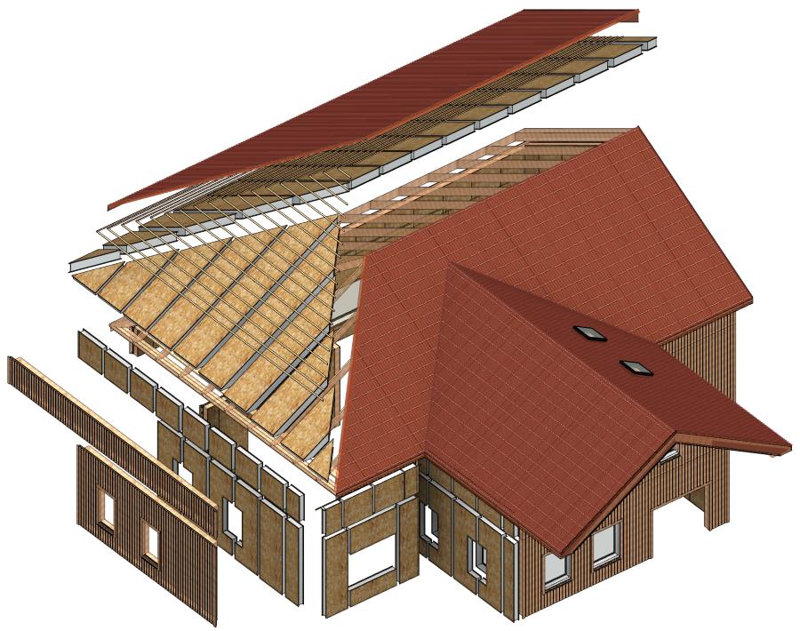 homes framed with SIP panels in Autodesk Revit | AGACAD Wood Framing SIPS BIM design software