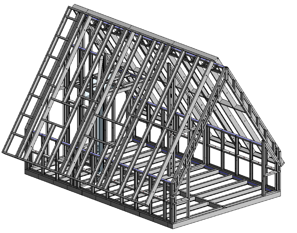 Attic framed with light-gauge steel in Autodesk Revit using AGACAD Metal Framing BIM tools