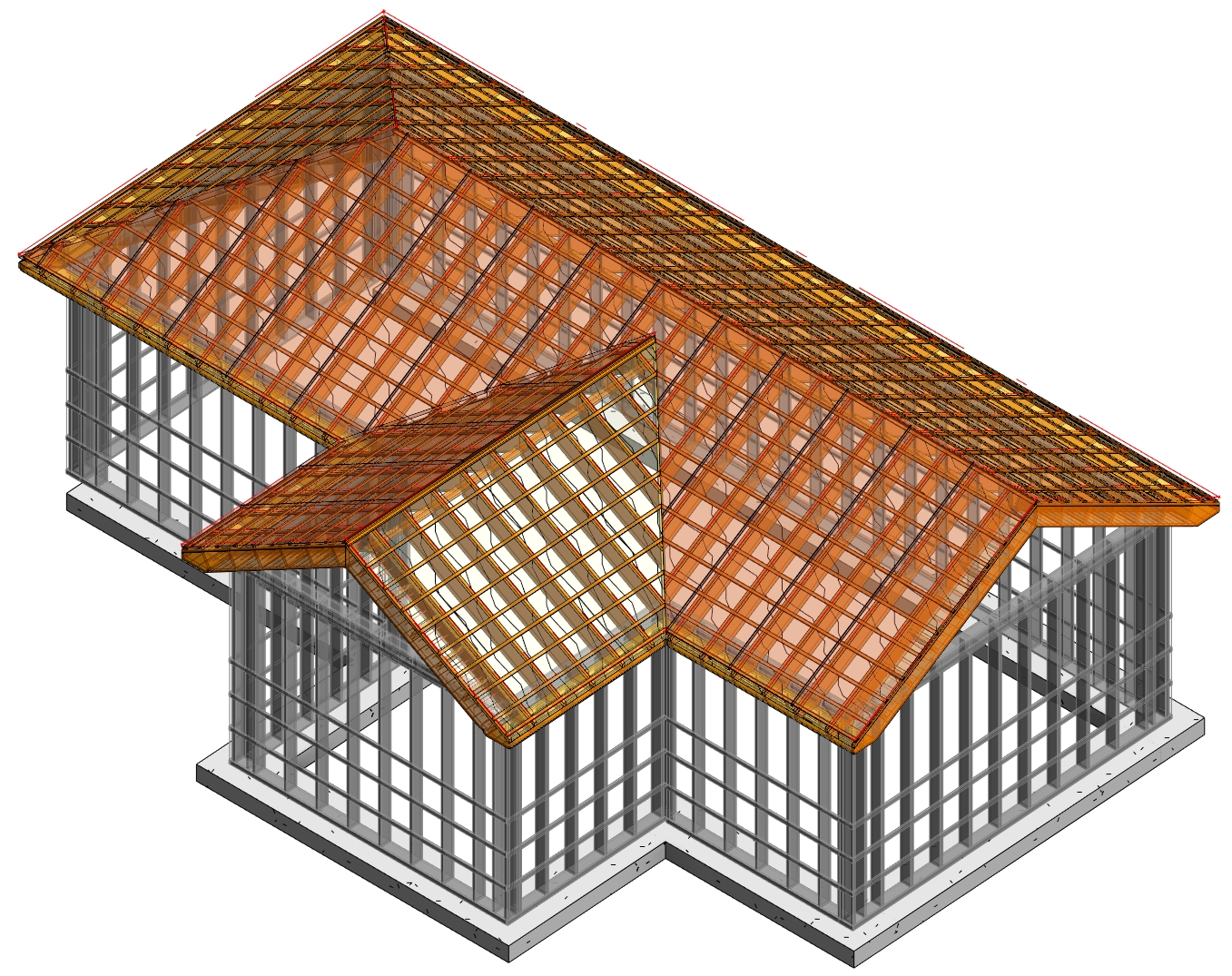 multilayer prefab timber roof panels framed in Autodesk Revit using AGACAD Roof Framing BIM tools