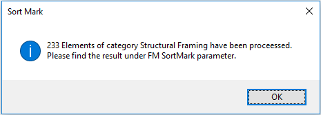 """Sort Mark calculated and entered the value in the """"FM SortMark"""" parameter for 233 Elements in 1 second!"""