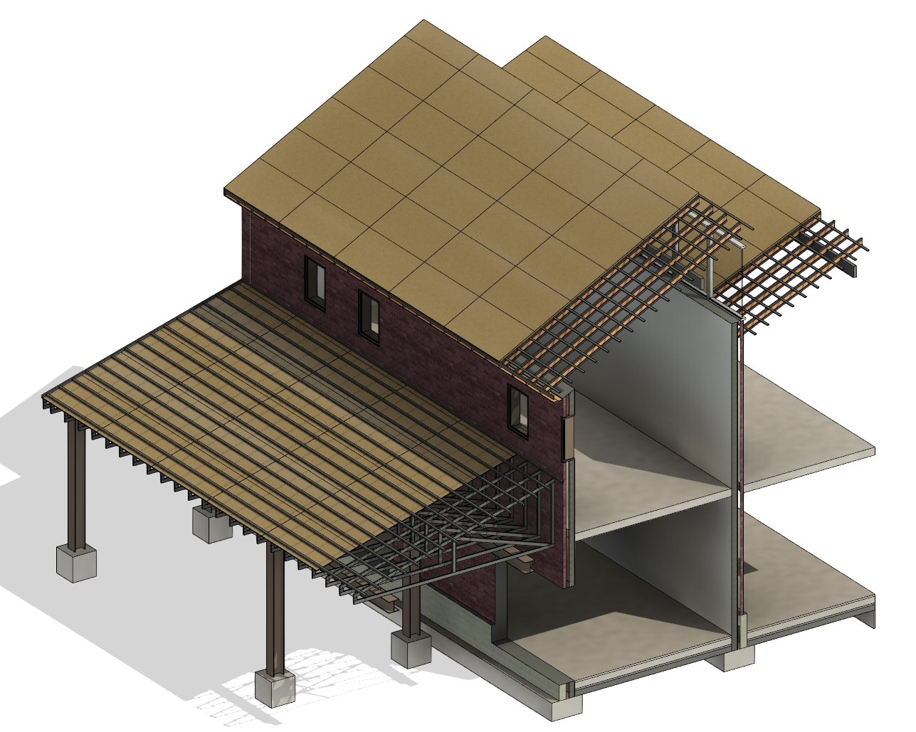 add layers of insulation, sheathing, and paneling using AGACAD Roof Framing BIM tools for Autodesk Revit