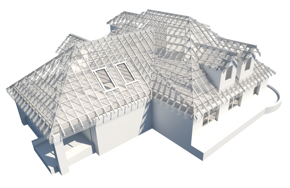 Roof framed with light-gauge steel in Autodesk Revit using AGACAD Metal Framing BIM tools