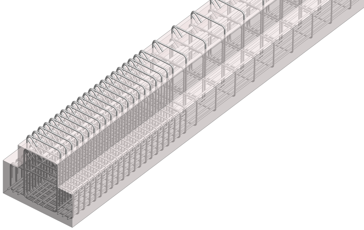 rebar modeled in a beam using AGACAD's Beam Reinforcement Revit addin