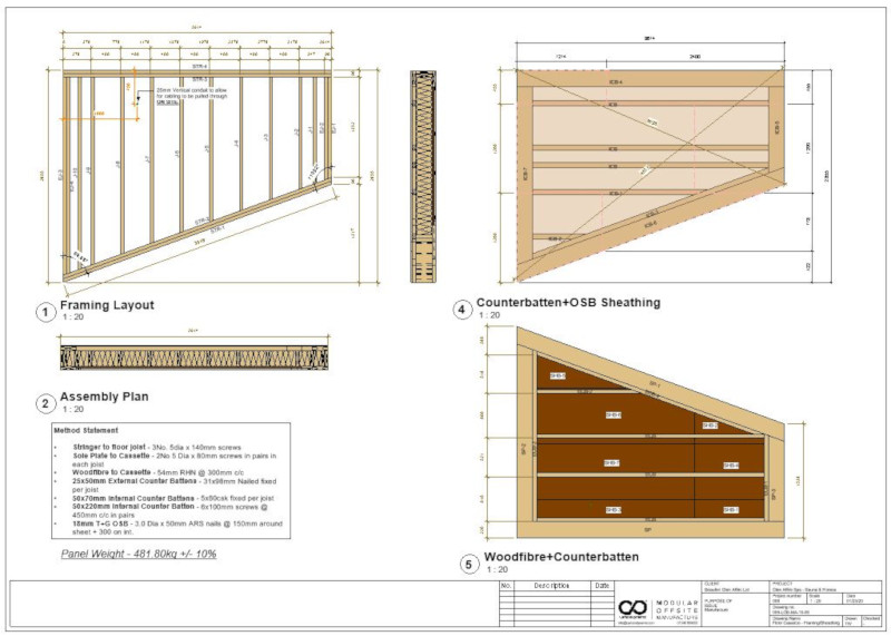 Shop drawings for DfMA (Design for Manufacture & Assembly) Spa facility designed by Pat Munro Ltd using AGACAD Wood Framing addins for Autodesk Revit