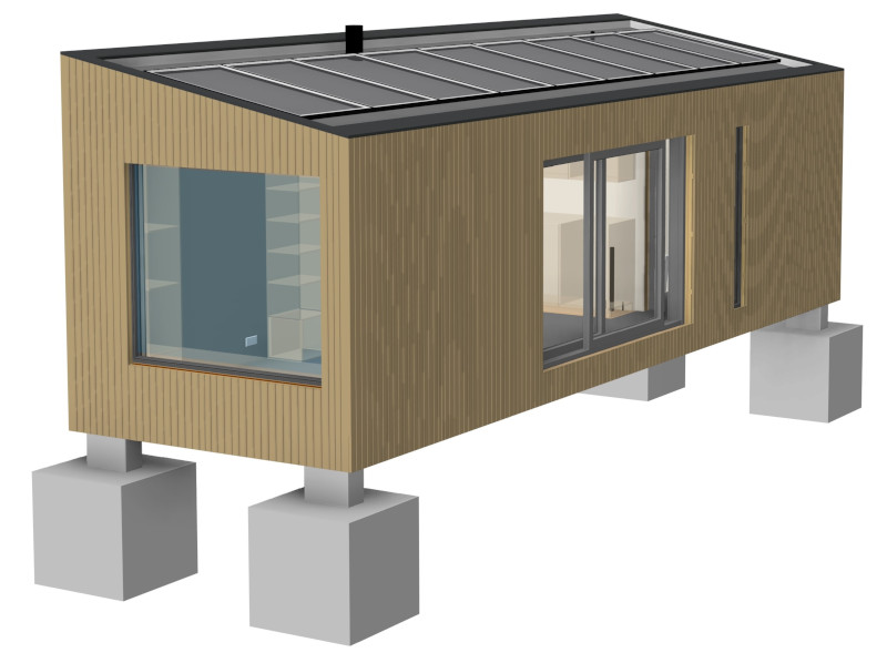 DfMA (Design for Manufacture & Assembly) modular Offgrid Cabin designed by Pat Munro Ltd using AGACAD Wood Framing addins for Autodesk Revit