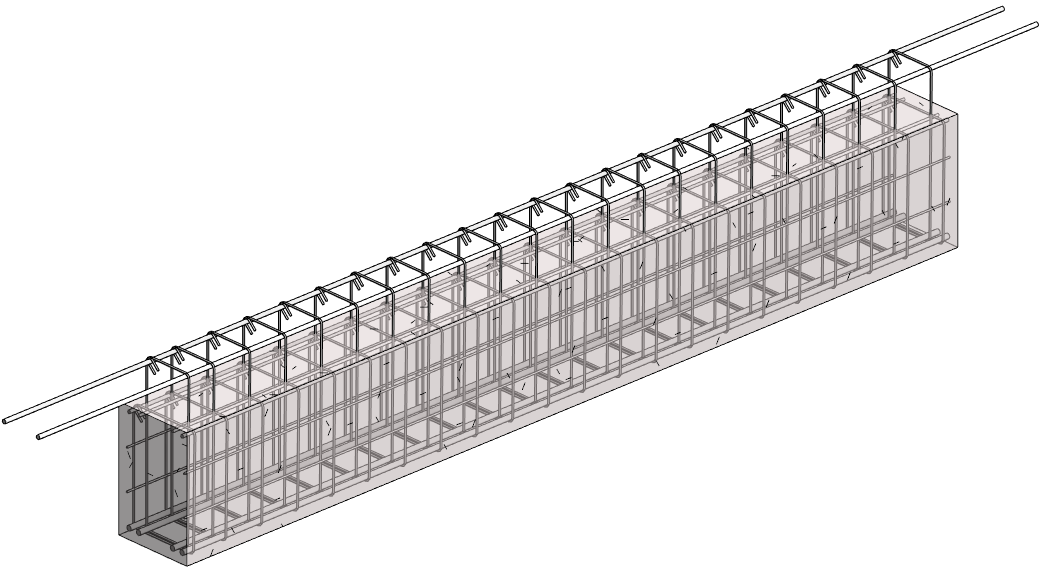 rebar modeled in rectangular beam using the Beam Reinforcement feature of AGACAD's Precast Concrete design software