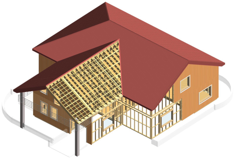 Timber framing wall, floor, roof