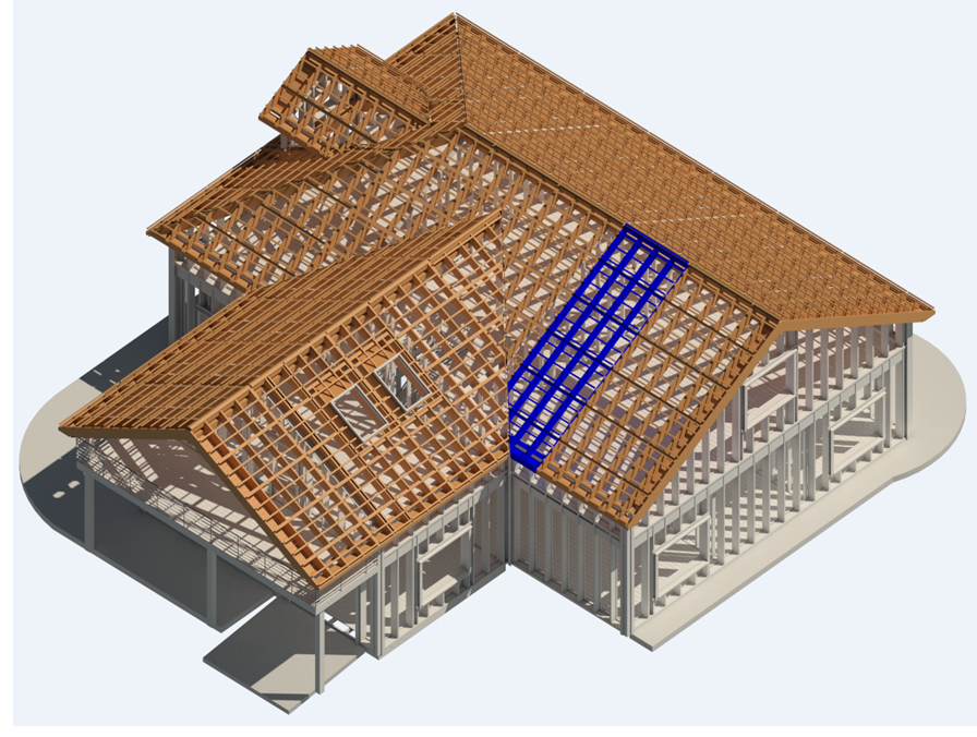 roof panels framed in Autodesk Revit using AGACAD Roof Framing BIM tools