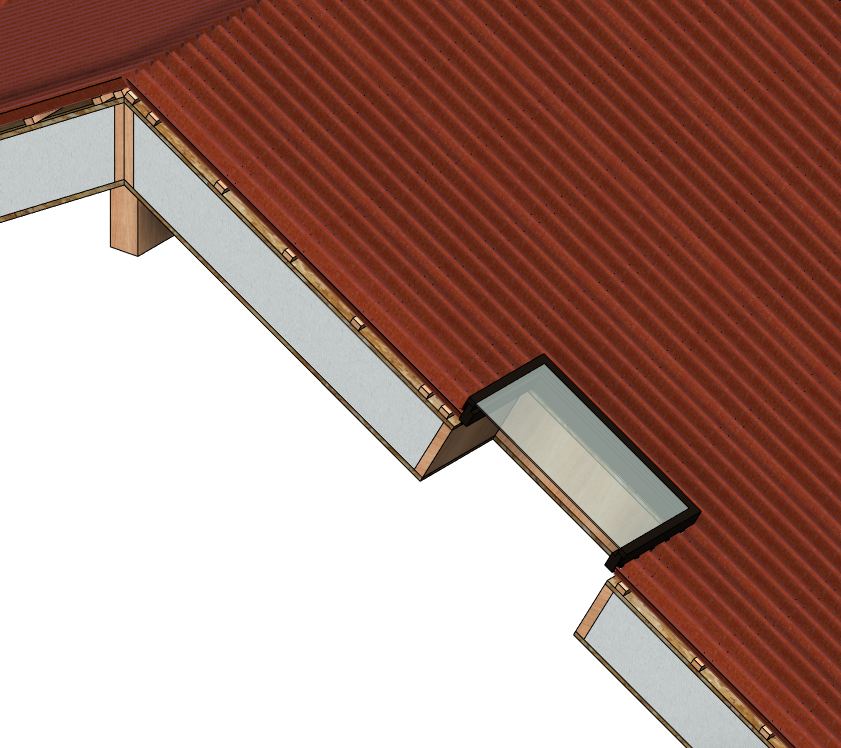 skylight in roof modeled in Autodesk Revit | AGACAD Wood Framing SIPS BIM design software