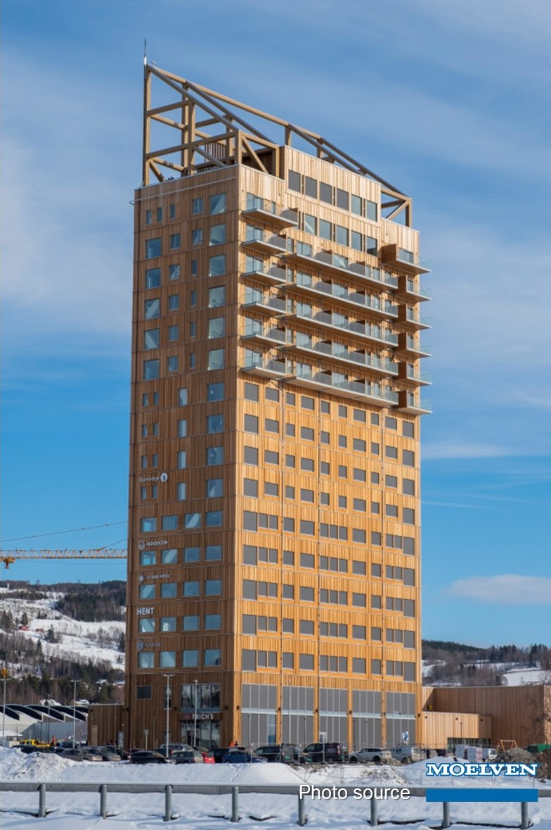 The world's tallest timber building Mjøstårnet (Norway) is built using cross-laminated timber (CLT) | AGACAD