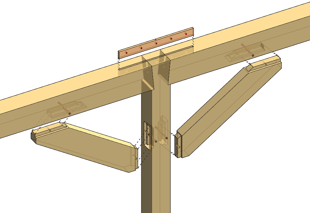 heavy timber framing connections modeled in Autodesk Revit using AGACAD Wood Framing OAK BIM software
