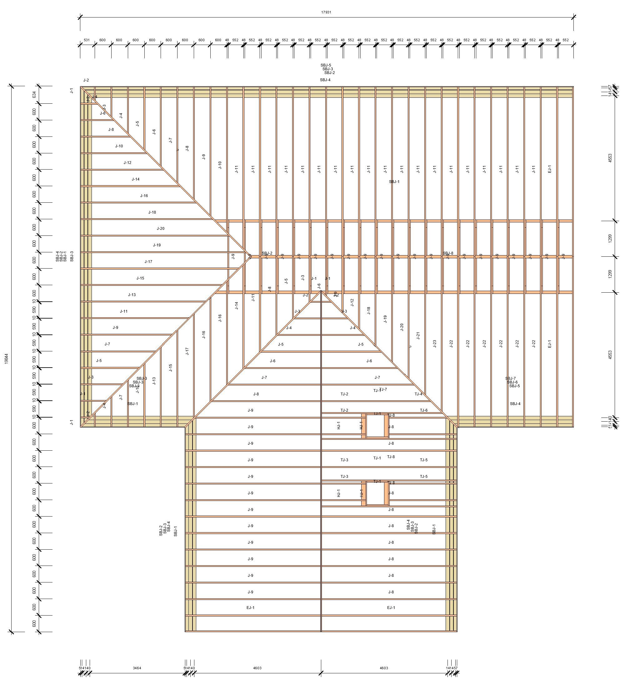 shop drawing with dimensions of a roof in Revit