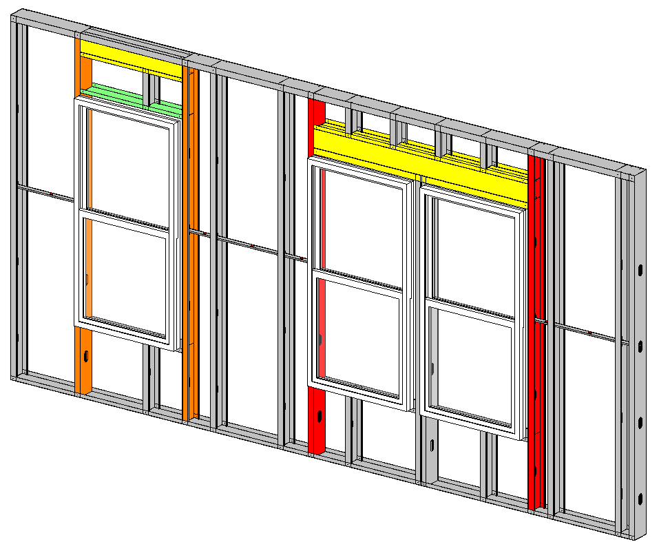 Wall headers, plates, studs, and window openings framed with light-gauge steel in Autodesk Revit using AGACAD Metal Framing BIM tools