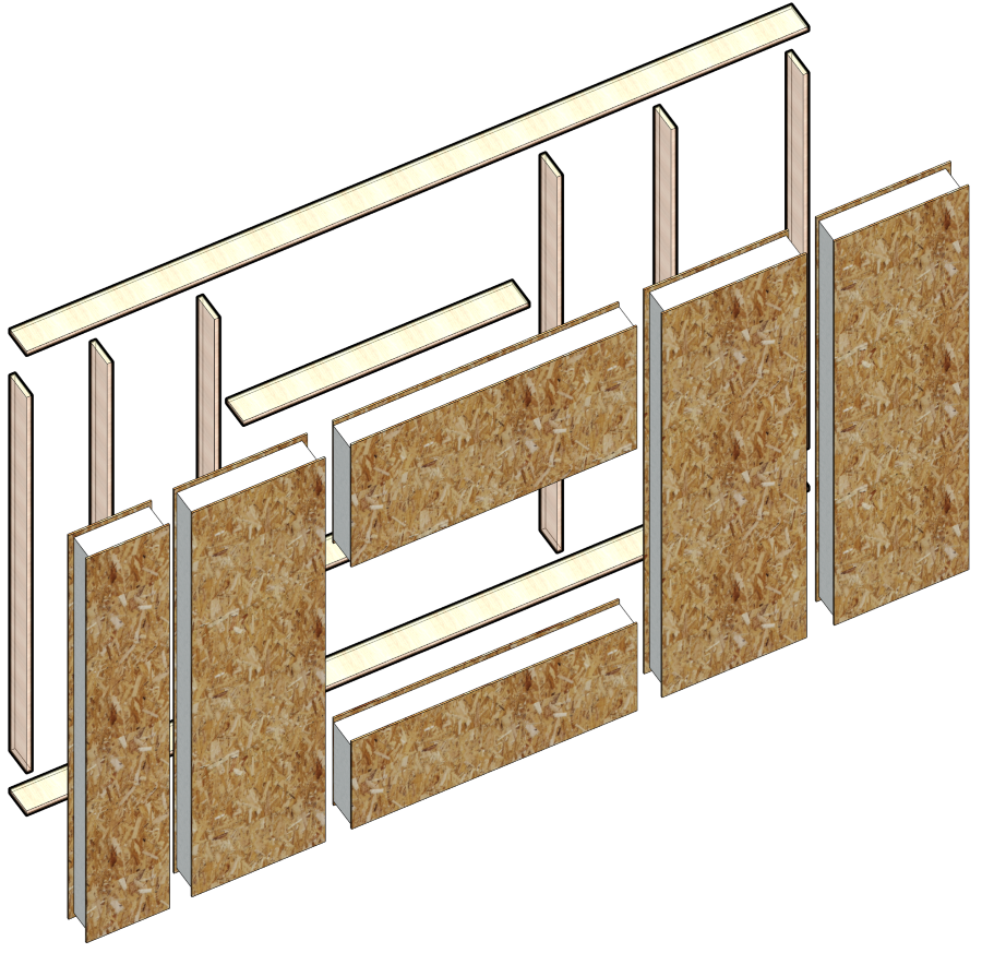 walls framed with SIP panels in Autodesk Revit | AGACAD Wood Framing SIPS BIM design software