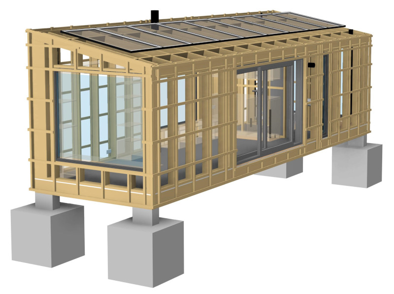 DfMA (Design for Manufacture & Assembly) modular Offgrid Cabin framing designed by Pat Munro Ltd using AGACAD Wood Framing addins for Autodesk Revit